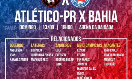 Bahia: cortes na lista de relacionados para jogo em Curitiba