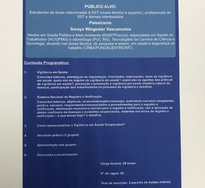 FUNDACENTRO/BA promove Curso de Vigilância em Saúde Ocupacional