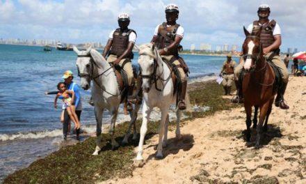 Ação na praia marca reinício de equoterapia do Esquadrão de Polícia Montada