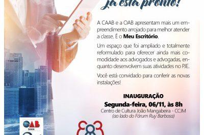 """Espaço """"Meu Escritório"""" será inaugurado pela CAAB e OAB para atender advogados"""