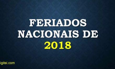 Confira os nove feriados nacionais que ocorrerão em 2018