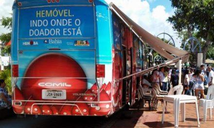 Unidades móveis do Hemoba estacionam em shoppings nesta semana