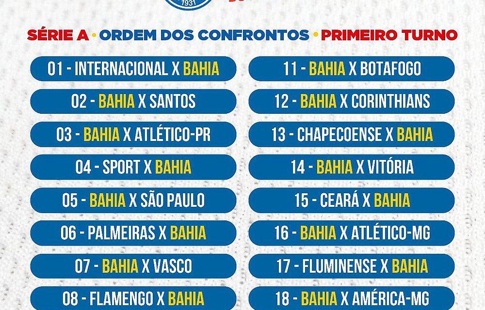 CBF divulga tabela dos jogos do Bahia no primeiro turno do Brasileirão 2018 e862244401341