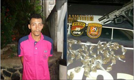 Polícia prende homem portando pistola calibre 380 e porção de drogas