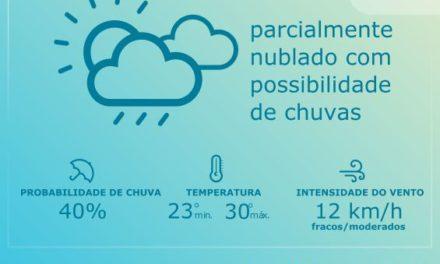 Áreas de instabilidade e, previsão de pancadas de chuvas