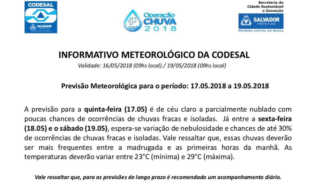Informativo da Defesa Civil de Salvador (Codesal)