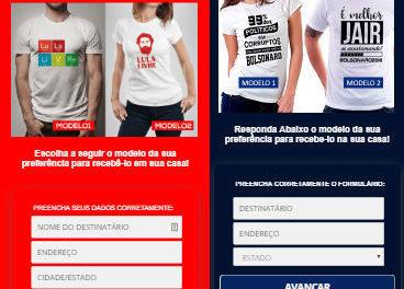 Golpes no WhatsApp prometem camisetas de Lula e Bolsonaro