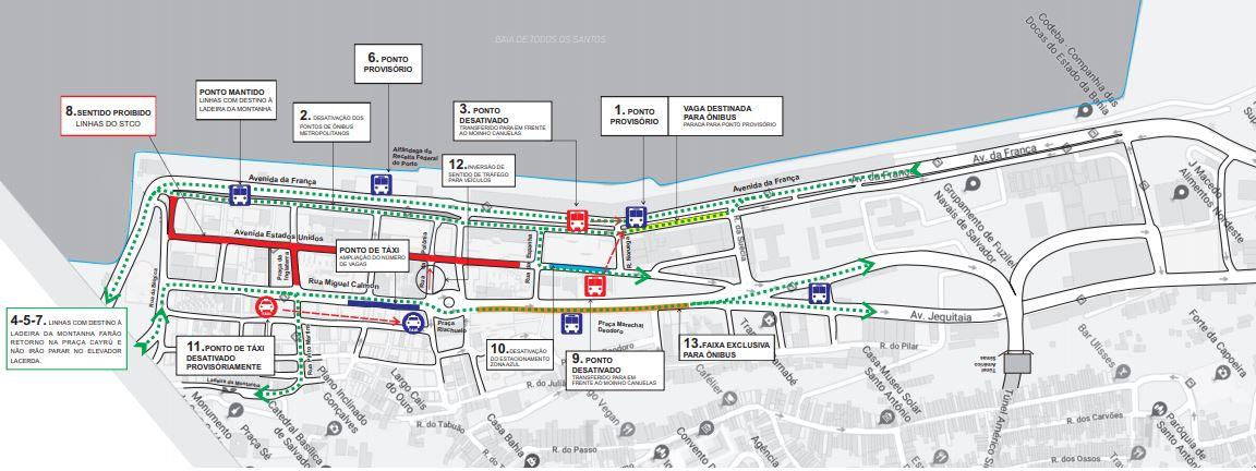 Obras alteram tráfego e pontos de ônibus no Comércio a partir deste sábado (15)