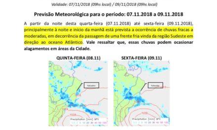 Boletim da Defesa Civil de Salvador (Codesal): está prevista a ocorrência de chuvas fracas a moderadas